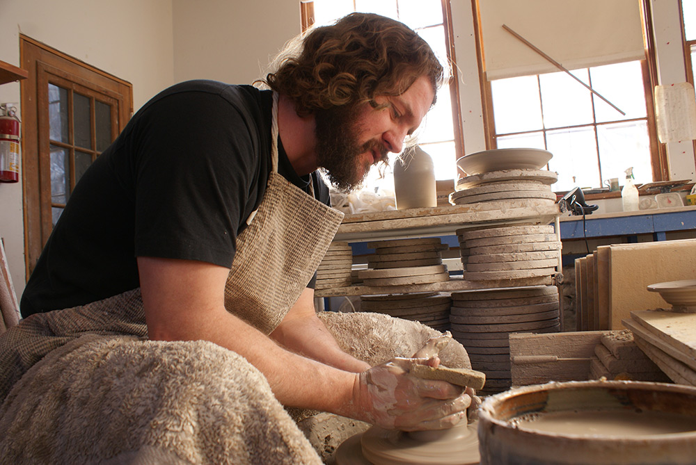 New School Pottery - Centering Clay on Wheel