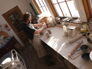 Newschool Pottery - Wedging clay as a potter in my studio
